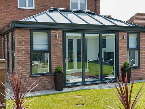 Glass Roof Conservatory in Grey with brick columns!