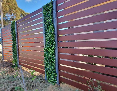 aluminum slat feature fence