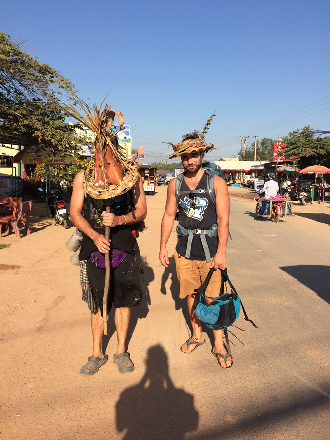 Funny British backpackers dressed as wicker men...
