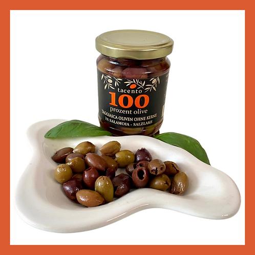 Entkernte Oliven in Salamoia - Salzlake eingelegt