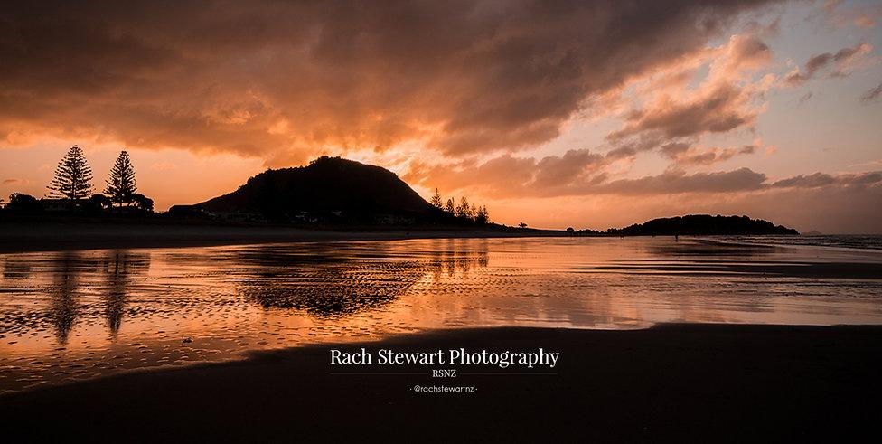 Mount Maunganui beach sunset reflection