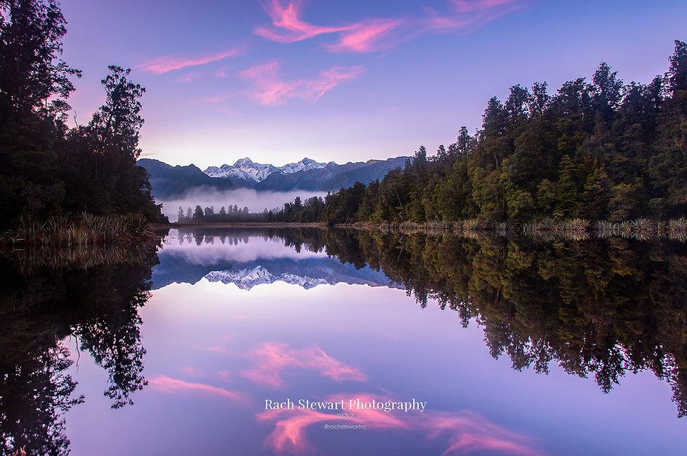 Lake matheson sunrise reflection