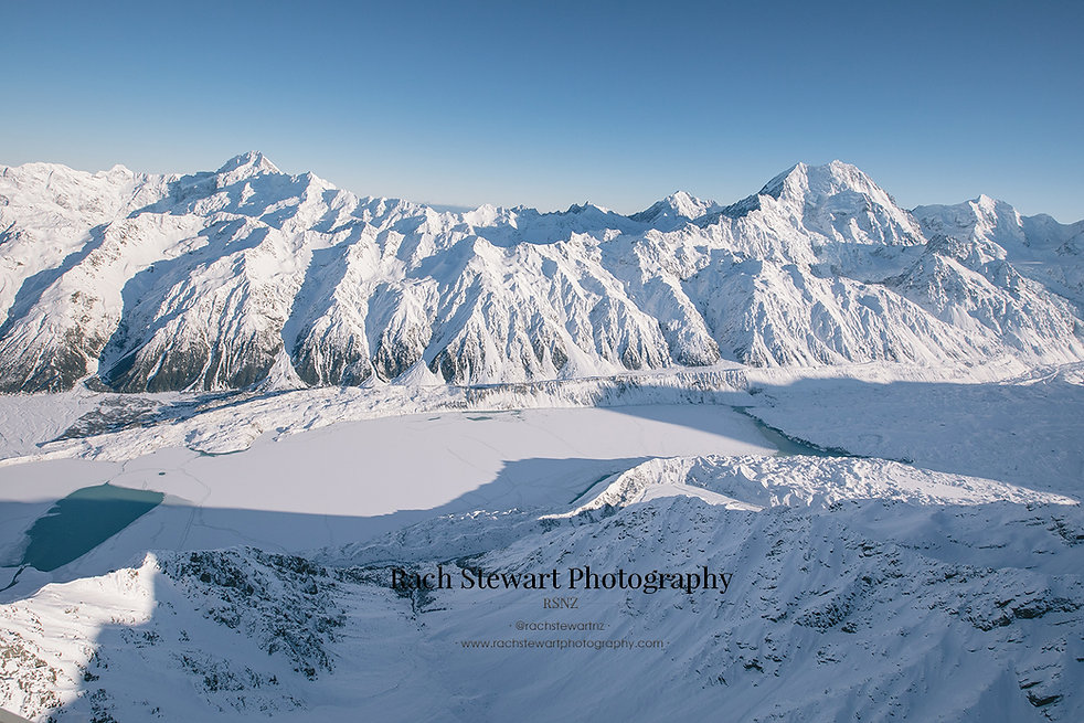 Tasman Lake Aerial Mount Cook winter