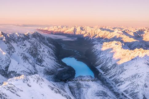 Tasman Lake sunrise aerial