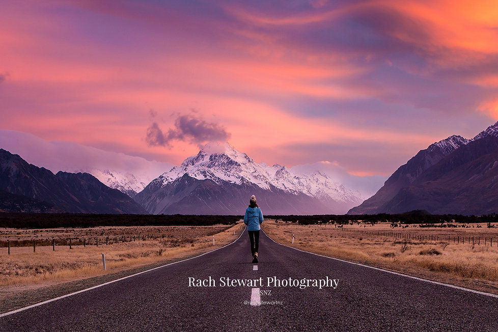 Mount Cook Road sunrise person