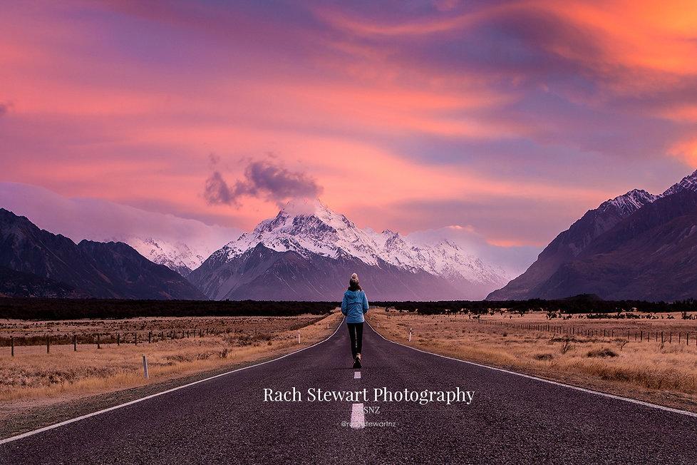 Mount Cook Road sunrise person