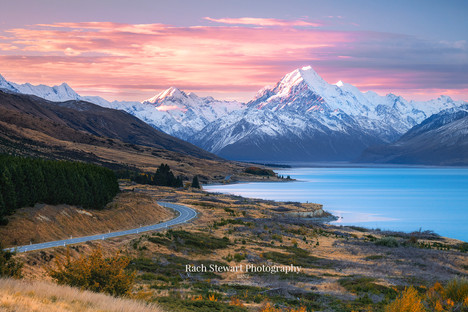 Road to Mount Cook sunset