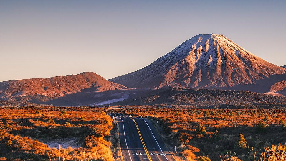 Mount Ngauruhoe sunrise road