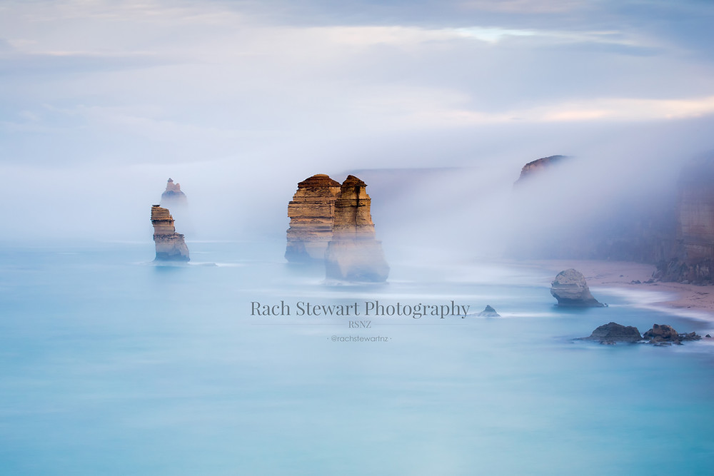 The 12 Apostles on a moody morning as viewed from the lookout