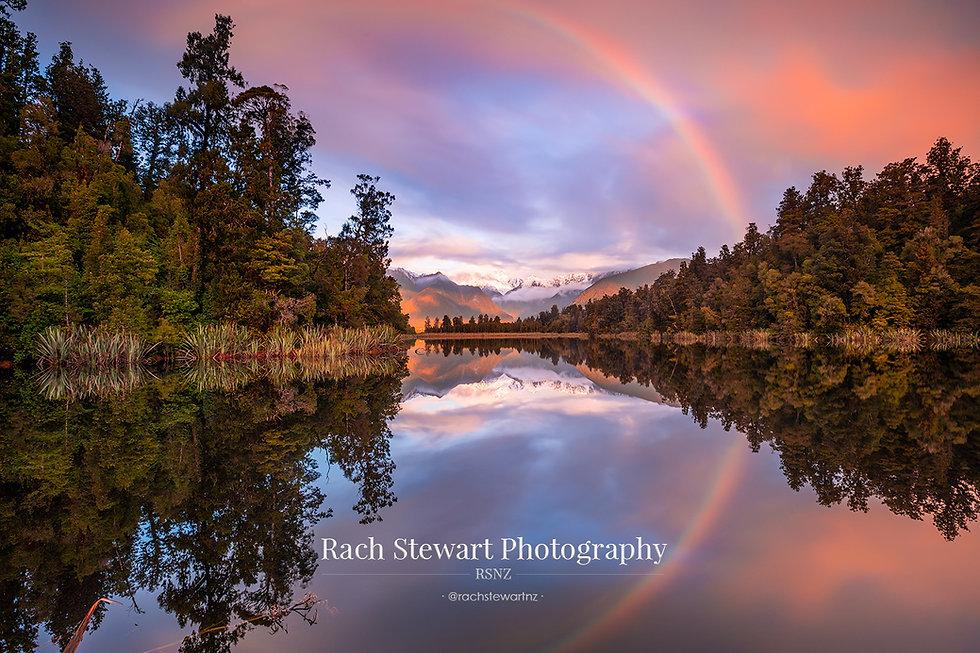 Lake Matheson sunset rainbow New Zealand Photographer