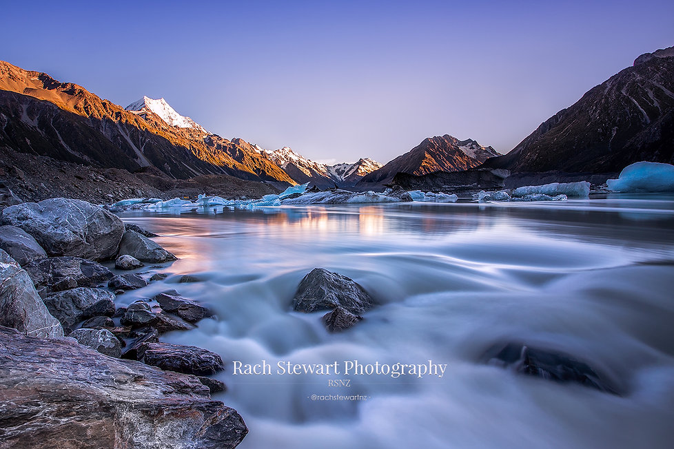 Tasman Lake River Mount Cook sunrise