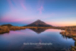 Mount Taranaki sunset reflection