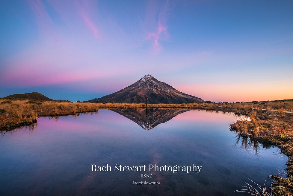 Mount Taranaki sunset reflection