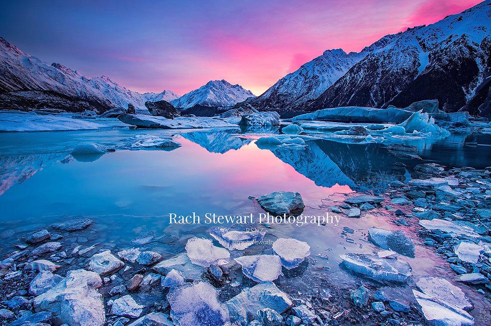 Tasman Lake sunrise winter