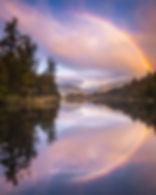 Lake Matheson sunset rainbow