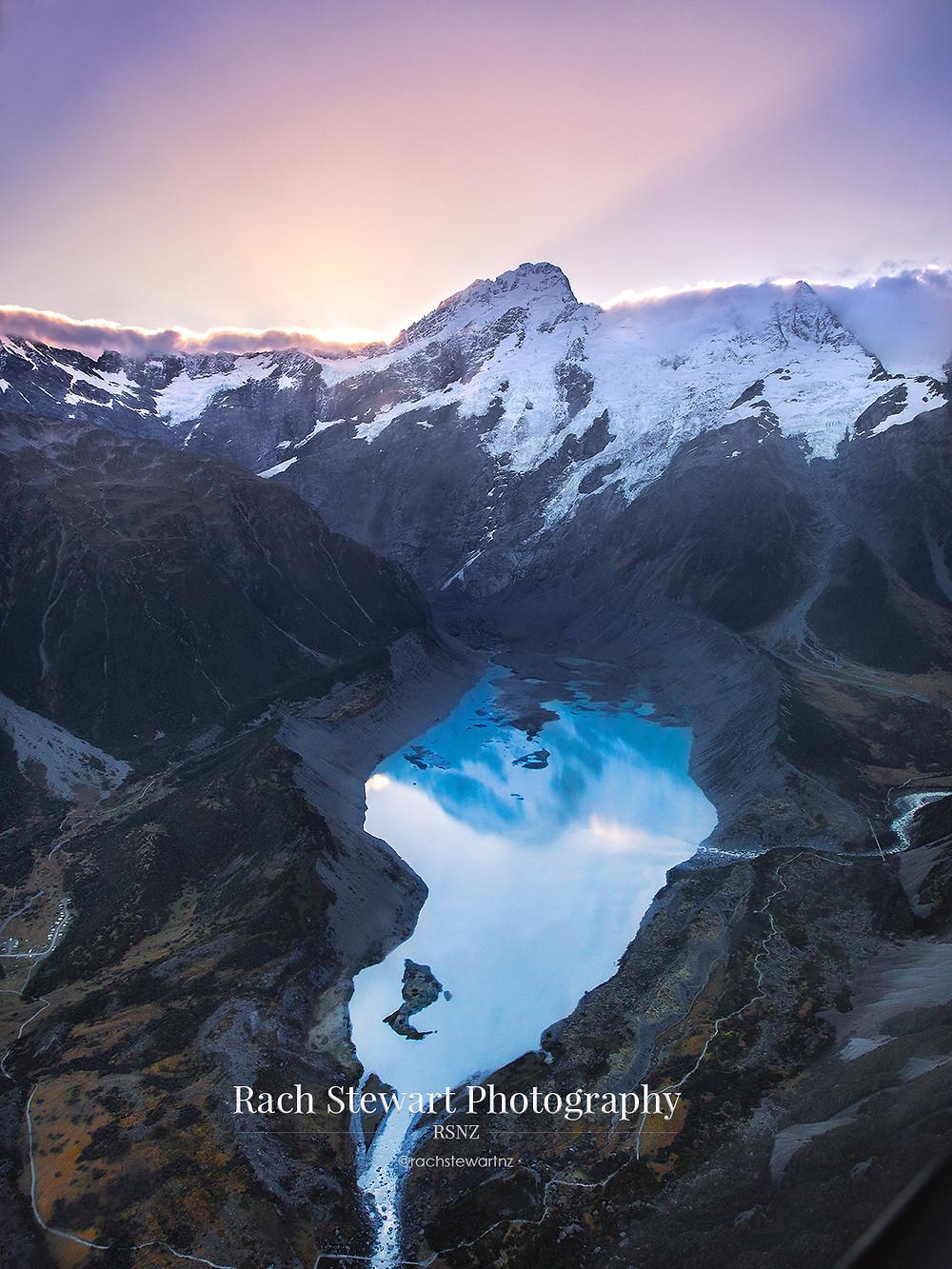 Mueller Lake aerial Mount Cook