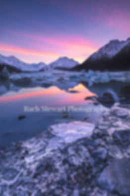 Tasman Lake New Zealand sunrise