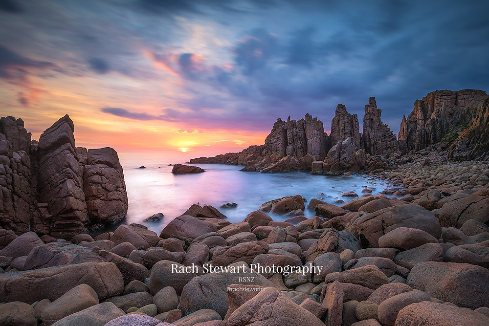 Looking towards the Pinnacles at sunset from the rocky shoreline