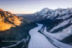 Tasman Glacier Aerial sunset New Zealand
