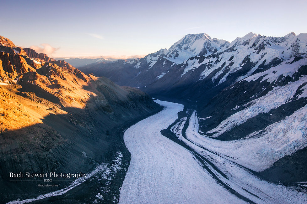 Tasman Glacier Aerial sunset New Zealand