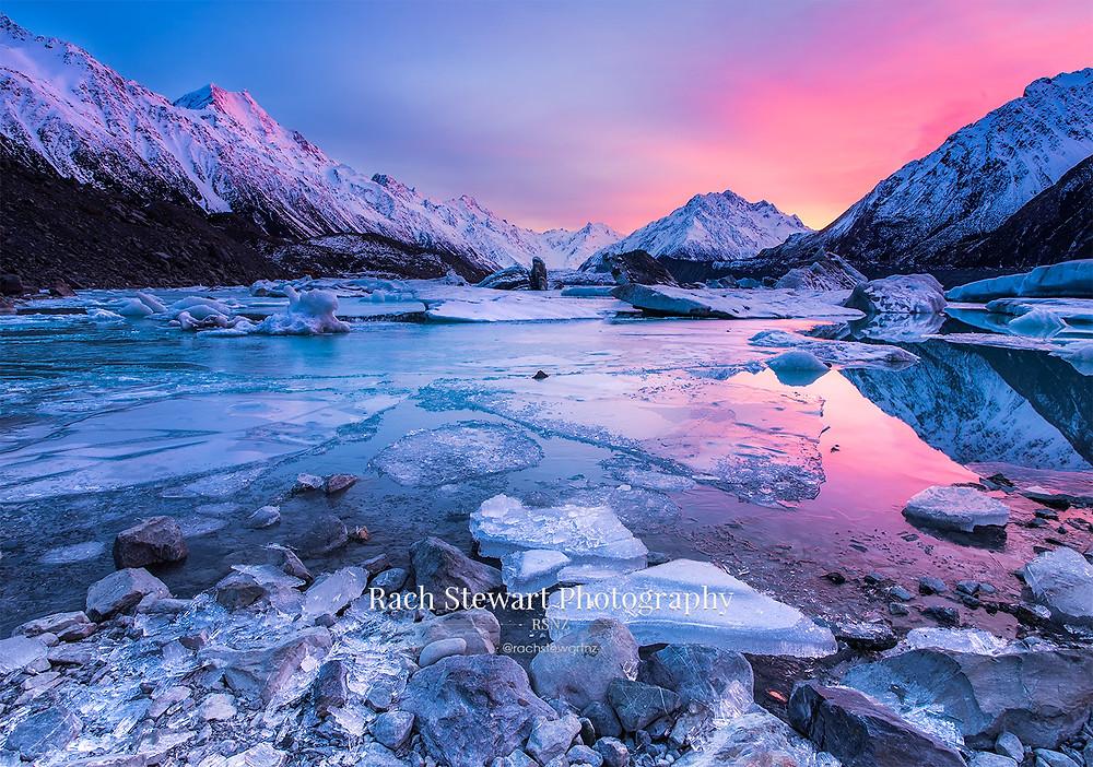 Tasman Lake sunrise Mount Cook