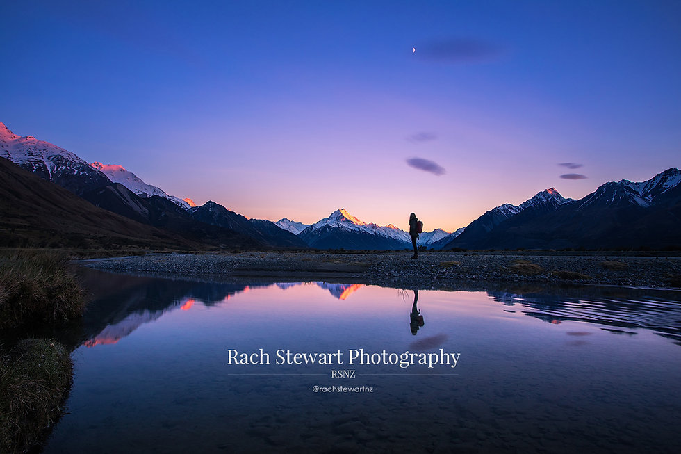 Mount Cook reflection sunrise person