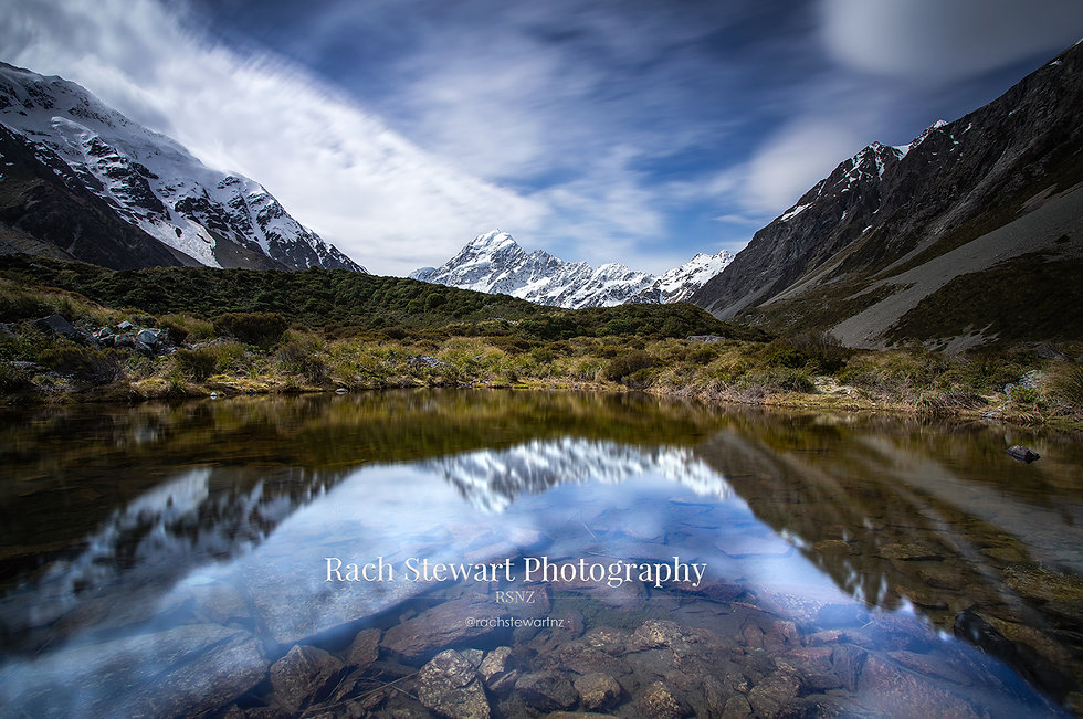Hooker valley track mount cook reflection