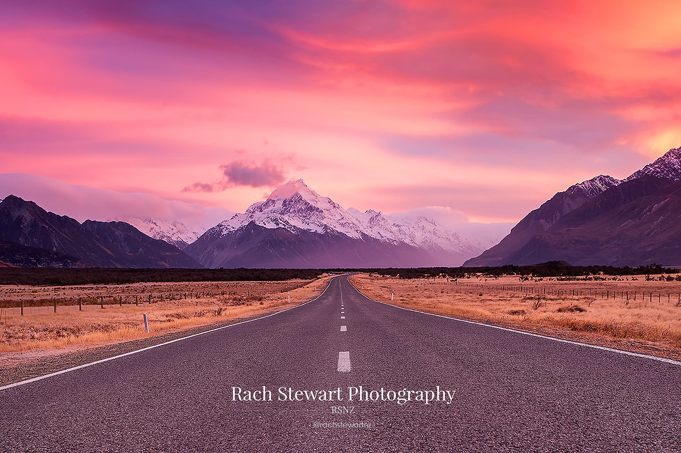 Mt Cook Road sunrise winter