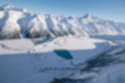 Tasman Lake winter aerial New Zealand