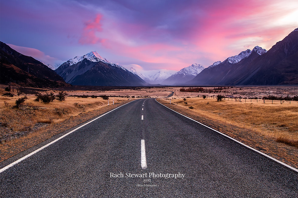 Road to Mount Cook sunrise