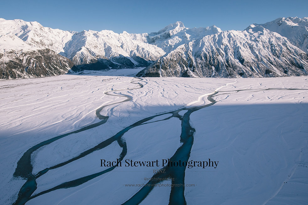 Mount Cook aerial braided rivers