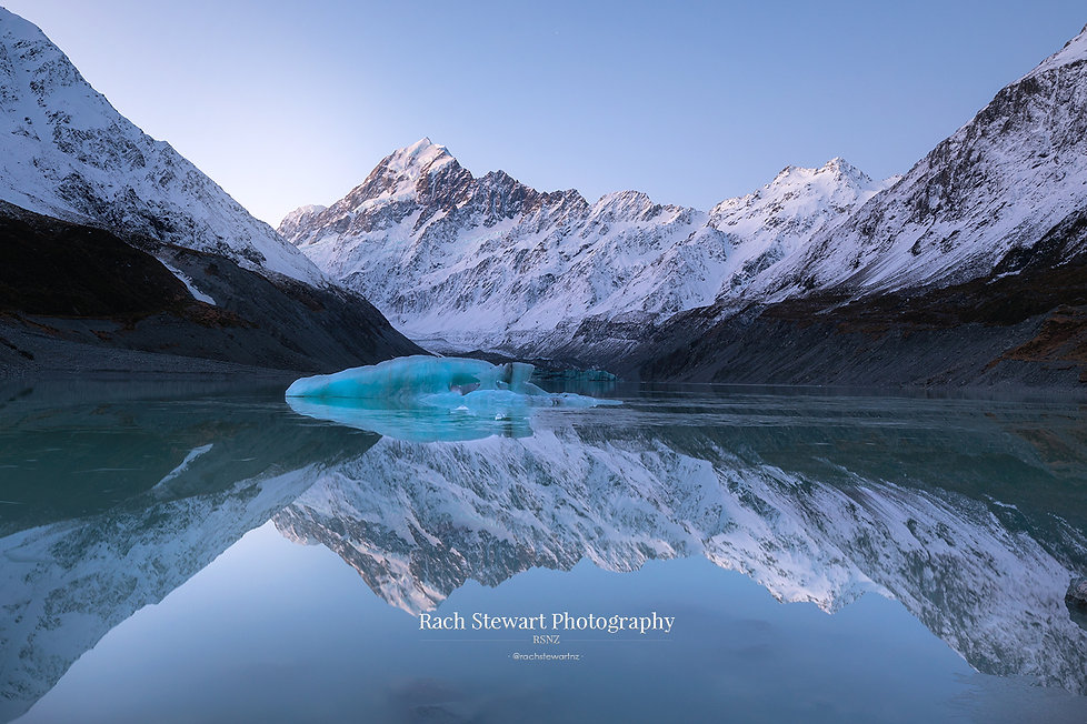 Hooker lake refection sunset Mount Cook