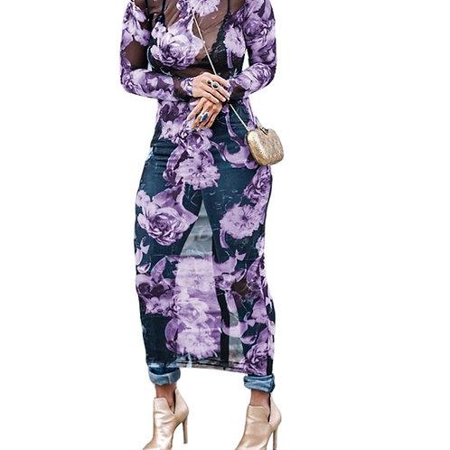 Sheer Top floral Dress