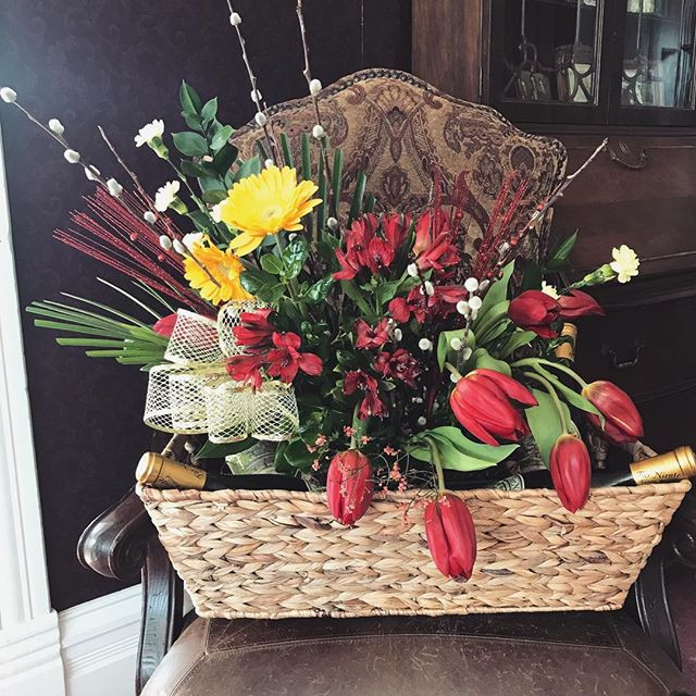 Wine and flower gift basket... ._._.__#s