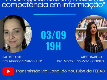 """Live """"A competência em mídia na competência em informação"""" - 03/09/2021 às 19h00"""