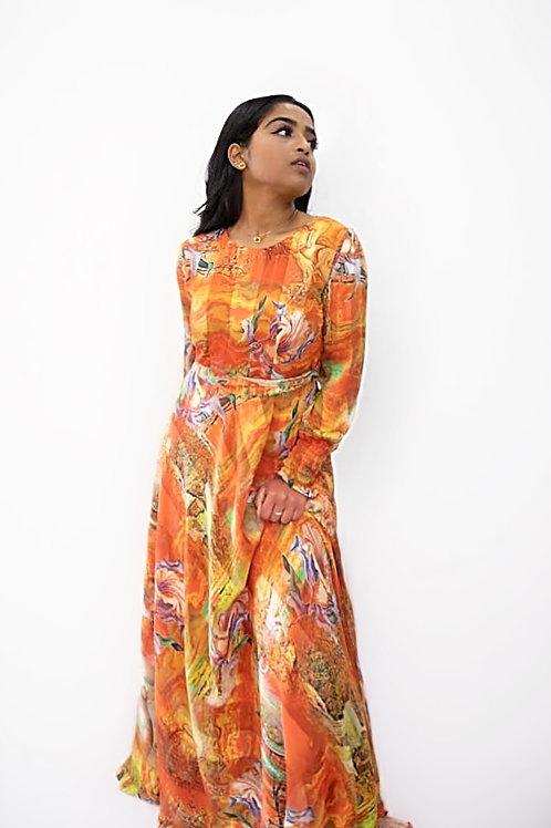 Abstract Print Orange Maxi Dress