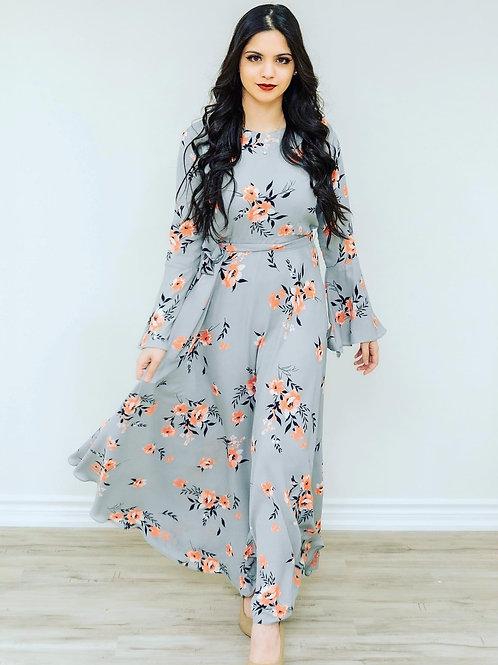 Pastel Blue Flower Print Maxi Dress