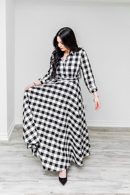 Black and White Plaid Maxi Dress