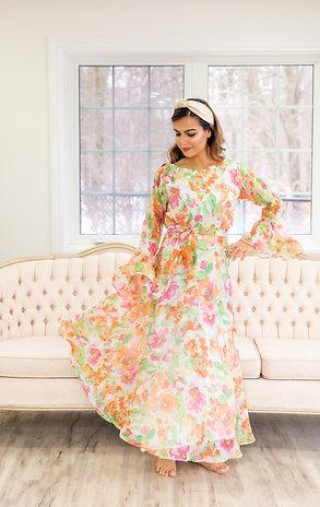 Dahlia- Pastel Floral Print Maxi Dress