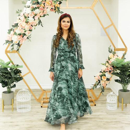 Ivy- Green Strokes Flare Maxi Dress