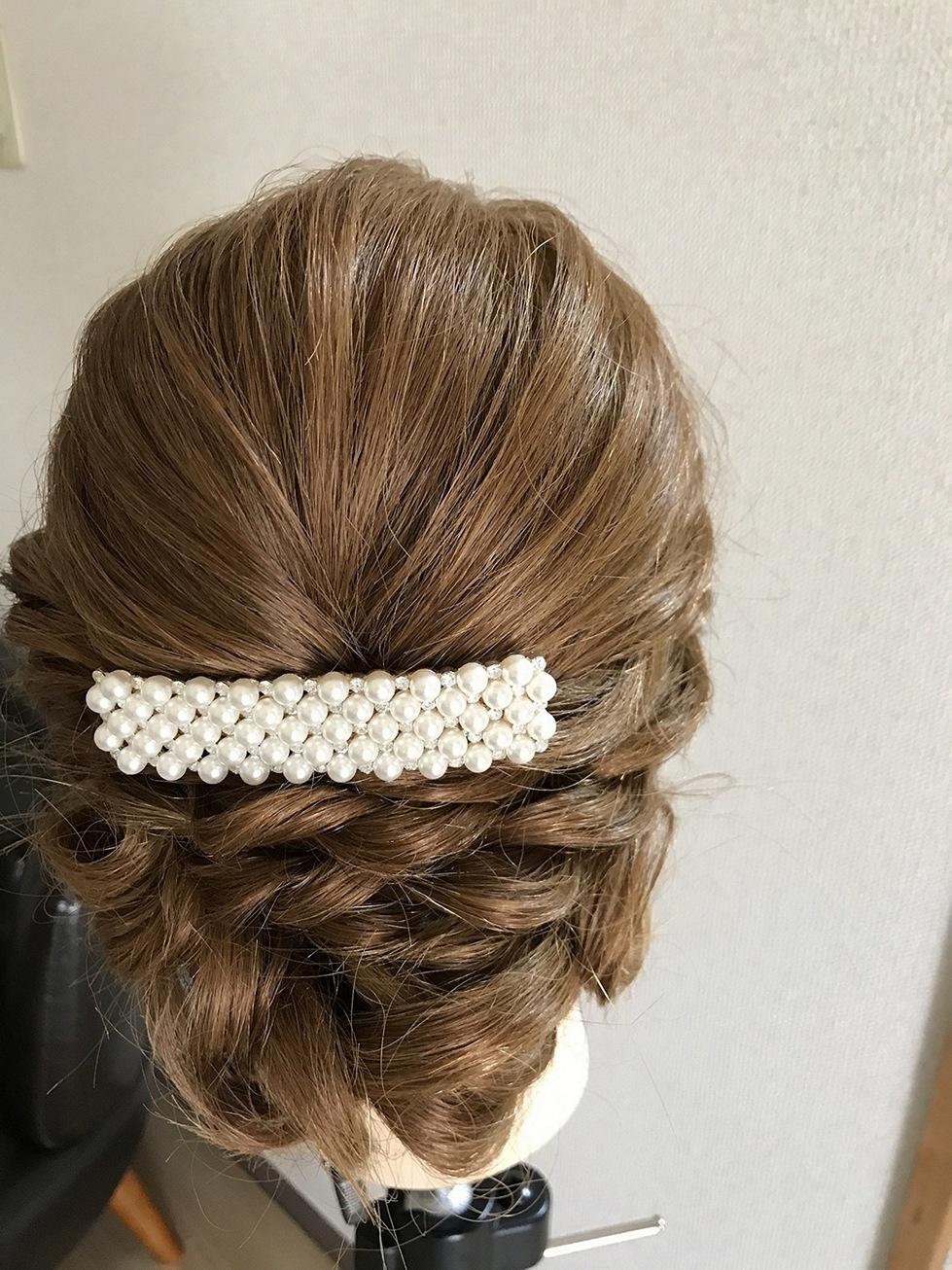 レンタル髪飾りバレッタ白B01