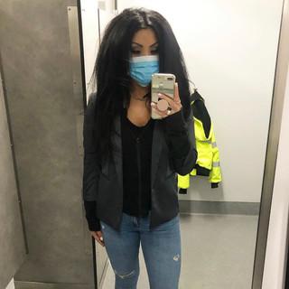 H&M blazer, Hanes zip-up hoodie, Target long sleeve top, Zara jeans
