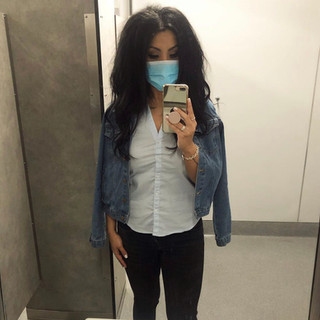 Forever 21 denim jacket, H&M button-up, Zara jeans