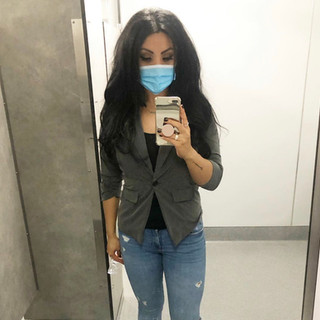 gray blazer, H&M t-shirt, Zara jeans