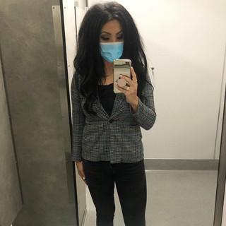 Vince Camuto plaid blazer, H&M top, Zara jeans