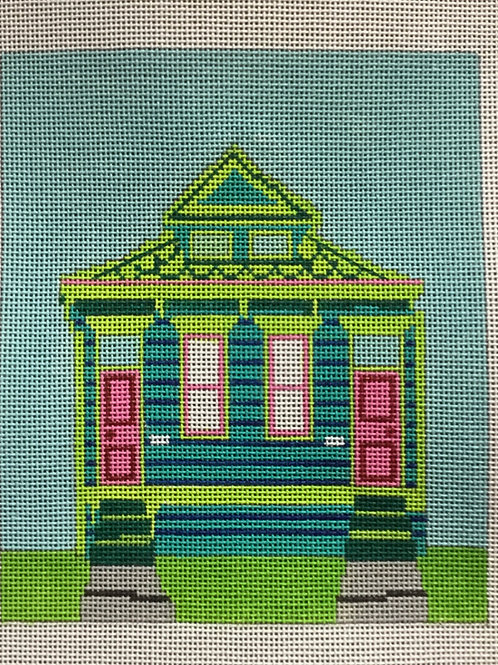 Aqua Double Shotgun House