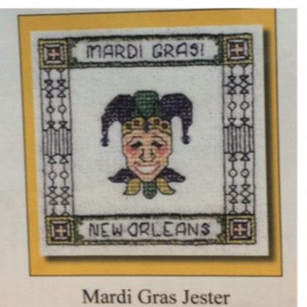 Mardi Gras Jester cross stitch chart