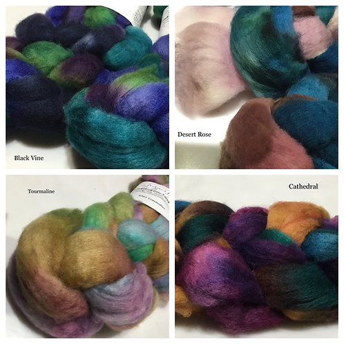Hand-dyed Blue Faced Leicester Roving