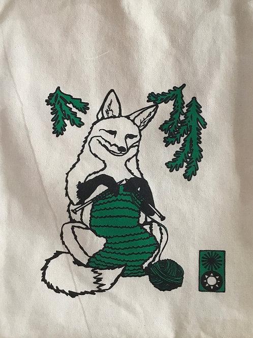 Knitting Fox project bag