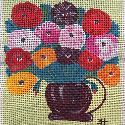 Zinnias in Purple Vase